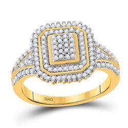 Womens Round Diamond Rectangle Frame Cluster Ring 1/4 Cttw 10kt Yellow Gold - REF-23F9W