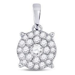Womens Round Diamond Cluster Pendant 1/2 Cttw 14kt White Gold - REF-32H5R