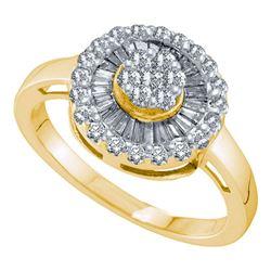 Womens Round Diamond Flower Cluster Ring 3/4 Cttw 14kt Yellow Gold - REF-43R5X