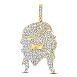 Mens Round Diamond Jesus Face Charm Pendant 1-1/4 Cttw 10kt Yellow Gold - REF-54W5K