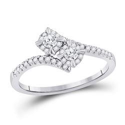 Round Diamond 2-stone Bridal Wedding Engagement Ring 1/3 Cttw 14kt White Gold - REF-36R5X