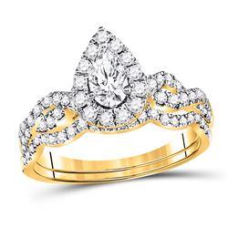Pear Diamond Bridal Wedding Ring Band Set 1 Cttw 14kt Yellow Gold - REF-104X9A