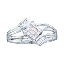 Womens Princess Diamond Offset Square Cluster Ring 1/4 Cttw 14kt White Gold - REF-27Y9N