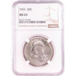 1953 Franklin Half Dollar Coin NGC MS63