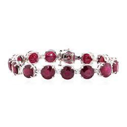 14KT White Gold 63.13 ctw Ruby and Diamond Bracelet