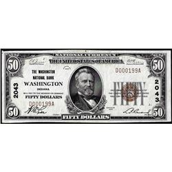 1929 $50 NB of Washington, District of Columbia CH# 2043 National Currency Note