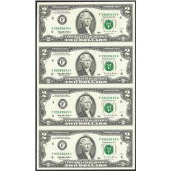Uncut Sheet of (4) 1995 $2 Federal Reserve Notes Atlanta