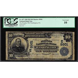 1902PB $20 Peoples NB of Washington, PA CH# 9901 National Currency Note PCGS VG10