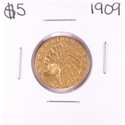 1909 $5 Liberty Head Half Eagle Gold Coin