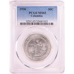 1936 Columbia Sesquicentennial Commemorative Half Dollar Coin PCGS MS65
