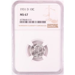 1931-D Mercury Dime Coin NGC MS67