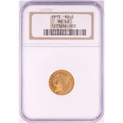 1913 $2 1/2 Indian Head Quarter Eagle Gold Coin NGC MS62