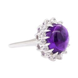 14KT White Gold 5.05 ctw Amethyst And Diamond Ring