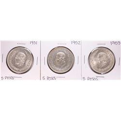 Lot of 1951-1953 Mexico Cinco Pesos Silver Coins