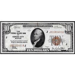 1929 $10 Federal Reserve Bank Note Kansas City