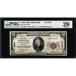 1929 $20 First NB Little Falls, MN CH# 4034 National Currency Note PMG Very Fine 20