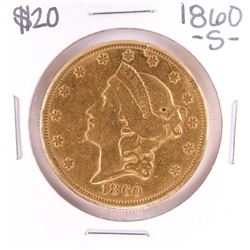 1860-S $20 Liberty Head Double Eagle Gold Coin