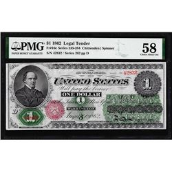 1862 $1 Legal Tender Note Fr.16c PMG Choice About Uncirculated 58