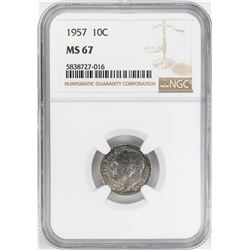 1957 Roosevelt Dime Coin NGC MS67
