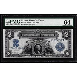 1899 $2 Mini-Porthole Silver Certificate Note Fr.253 PMG Choice Uncirculated 64