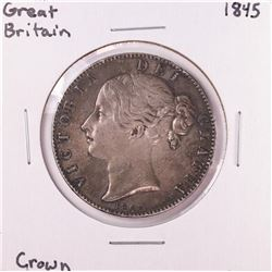 1845 Great Britain Crown Silver Coin