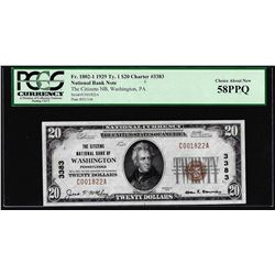 1929 $20 Washington, PA CH# 3383 National Currency Note PCGS Choice About New 58PPQ