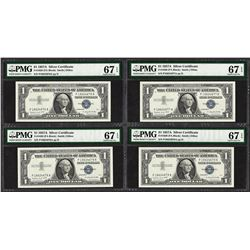 Lot of (4) Consecutive 1957A $1 Silver Certificate Notes PMG Superb Gem Unc. 67EPQ