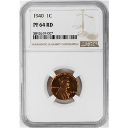 1940 Proof Lincoln Wheat Cent Coin NGC PF64RD