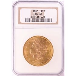 1900 $20 Liberty Head Double Eagle Gold Coin NGC MS61
