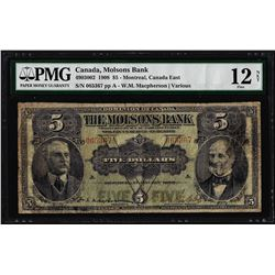 1908 $5 Canada Montreal The Molsons Bank Note PMG Fine 12 Net