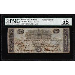 "1810's $10 Bank of Auburn NY ""Counterfeit"" Obsolete Note PMG Ch. About Uncirculated 58"