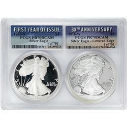 1986-S & 2016-W $1 Proof American Silver Eagle Coin Set PCGS PR70DCAM