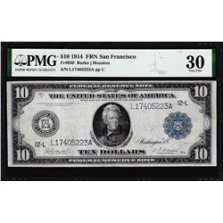 1914 $10 Federal Reserve Note San Francisco Fr.950 PMG Very Fine 30