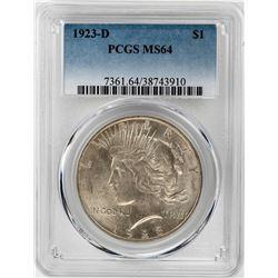1923-D $1 Peace Silver Dollar Coin PCGS MS64