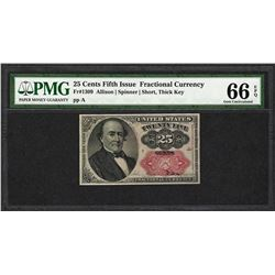 1874 25 Cent Fifth Issue Fractional Currency Note Fr.1309 PMG Gem Uncirculated 66EPQ