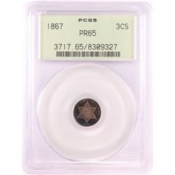 1867 Proof Three Cent Silver Coin PCGS PR65 Old Green Holder Nice Toning