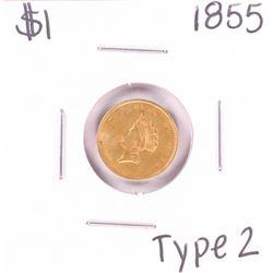 1855 Type 2 $1 Liberty Head Gold Dollar Coin