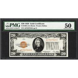 1928 $20 Gold Certificate Note Fr.2402 PMG About Uncirculated 50