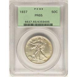1937 Proof Walking Liberty Half Dollar Coin PCGS PR65 Old Green Holder