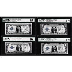 (4) Consecutive 1928B $1 Silver Certificate Notes Fr.1602 PMG Superb Gem Unc. 67EPQ