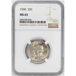 1940 Washington Quarter Coin NGC MS65