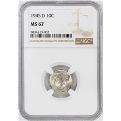1945-D Mercury Dime Coin NGC MS67
