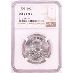 1958 Franklin Half Dollar Coin NGC MS64FBL