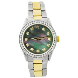 Rolex Ladies Oyster Perpetual 18KT Yellow Gold & Steel 31mm MOP Diamond Dial Watch