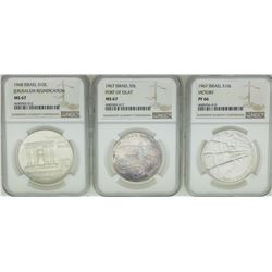 Lot of (3) 1967/1968 Israel Commemorative Silver Coins NGC PF66/MS67