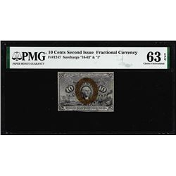 1863 Ten Cents Second Issue Fractional Note Fr.1235 PMG Choice Uncirculated 63EPQ