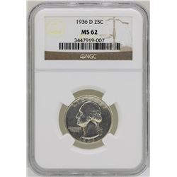 1936-D Washington Silver Quarter Coin NGC MS62