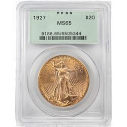 1927 $20 St. Gaudens Double Eagle Gold Coin PCGS MS65 Old Green Holder