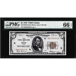 1929 $5 Federal Reserve Bank Note Dallas Fr.1850-K PMG Gem Uncirculated 66EPQ