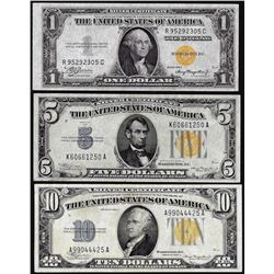 Set of 1934/1935A $1/$5/$10 North Africa WWII Emergency Issue Silver Certificate Notes